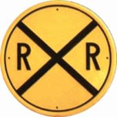 Rail Road Crossing Round - Tin Sign