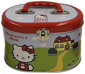 Hello Kitty - Red Boarder - Tin Sewing Box Tote
