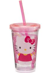Hello Kitty - 12 oz. Pink Plastic Cold Cup with