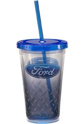 Ford - 18 oz. Plastic Cold Cup with Lid & Straw