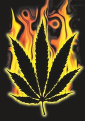 Burning Cannabis Leaf - Flag / Poster / Scarf