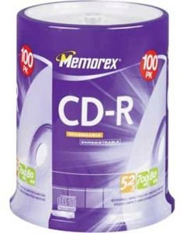 Memorex 52x Write-Once CD-R (100 Disc Spindle)