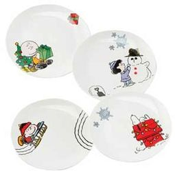Peanuts - Holiday 4 pc. Ceramic Plate Set