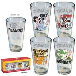 Peanuts - Quotes: Retro 4 Piece Pint Glass Set