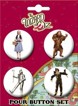 The Wizard of Oz - On White Carded 4 Button Set