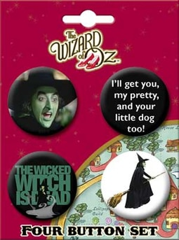 Wicked Witch Carded 4 Button Set