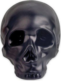 Skull - Black Stoneware Coin Bank