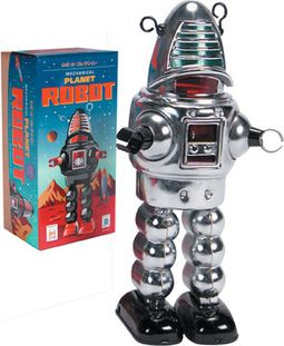 Planet Wind-Up Robot Tin Toy - Chrome
