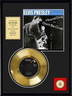 "Elvis Presley - Hound Dog - Framed 12"" x 16"" Gold"