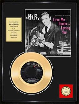 "Love Me Tender - Framed 12""x16"" Gold Record"