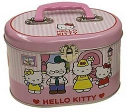 Hello Kitty - Pink Stripes - Tin Sewing Box Tote