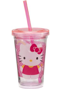 12 oz. Pink Plastic Cold Cup with Lid & Straw