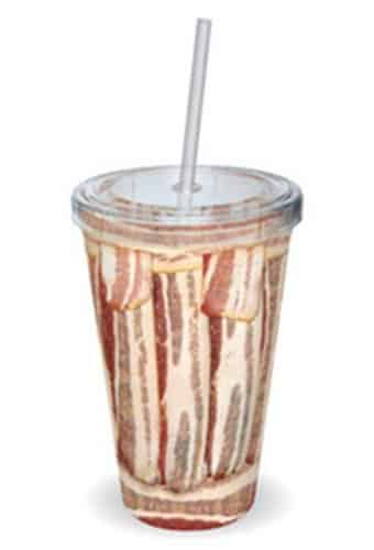 Bacon Plastic Cup with Straw
