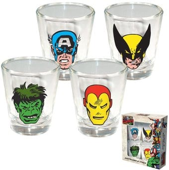 Marvel Comics - 4 Piece Shot Glass Set