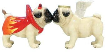 Puppy - Angel & Devil Pugs - Salt & Pepper Shakers