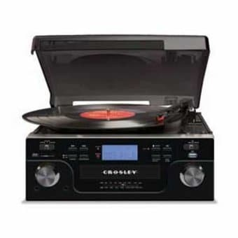 Crosley CR6008A-BK Tech Turntable with CD Player