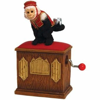 Monkey on Organ Grinder - Hand Crank Music Box