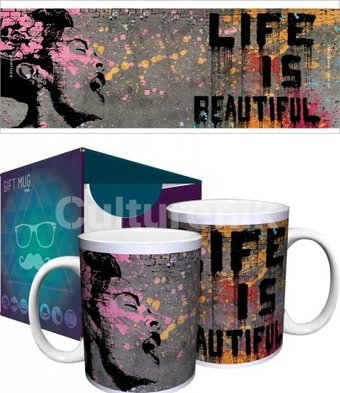 Banksy life is beautiful 11oz boxed mug culturenik for Billie holiday life is beautiful mural