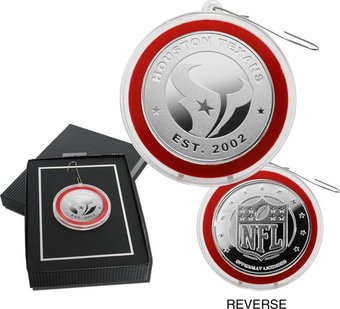 Football - Houston Texans Silver Coin Ornament