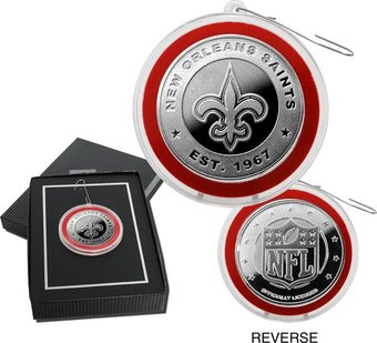 Football - New Orlean Saints Silver Coin Ornament