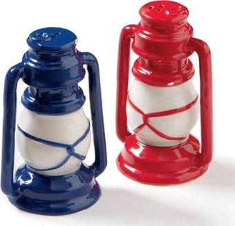 Vintage Lantern - Red & Blue Salt & Pepper Shakers