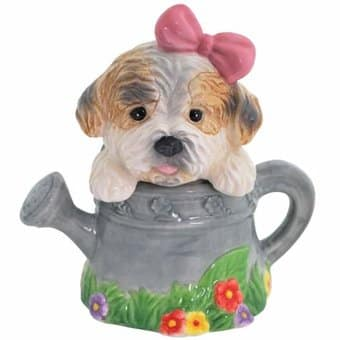 Puppy - Puppy in Watering Can - Salt & Pepper