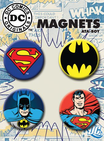Batman & Superman - 4-Piece Round Magnet Set
