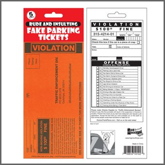 Funny - Prank Parking Tickets - 5-Pack