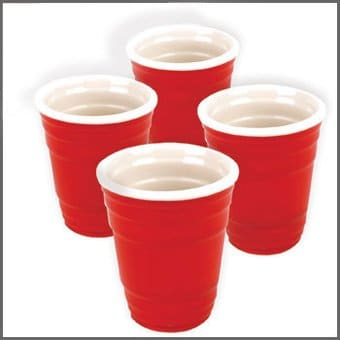 Red Cup Mini Red Cups 4 Piece Ceramic Shot Glass