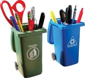Mini Curb Trash & Recycle Bins - Desk Accessory