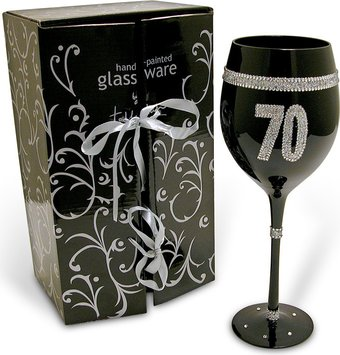 Birthday - Black Wine Glass - 70