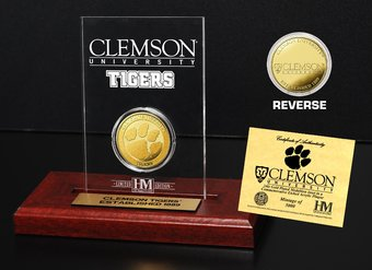 Clemson University Gold Coin Etched Acrylic