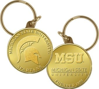 Michigan State Bronze Coin Keychain