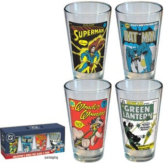 DC Comics - Vintage Covers: 4-Piece Pint Glass Set
