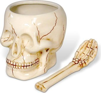 Skull - Ceramic Bowl with Skeletal Spoon