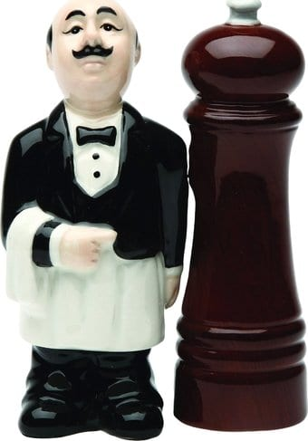 Waiter and Pepper Mill - Salt and Pepper Shakers