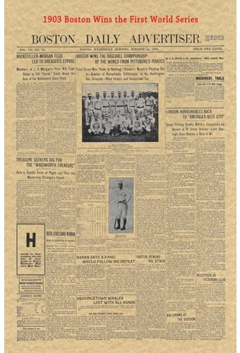 Baseball - 1903 Historic Document: Boston Wins