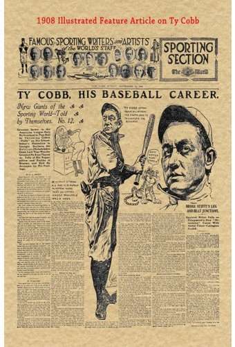 Baseball - Ty Cobb - 1908 Historic Document: