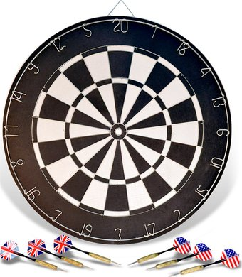 "Black & White Plain - 18"" Boxed Dart Board"