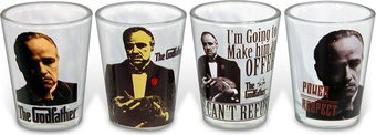 The Godfather - 4 pc Shot Glass Set Clear Glass