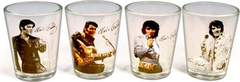 Elvis Presley - 4-Piece Clear Glass Shooter Set