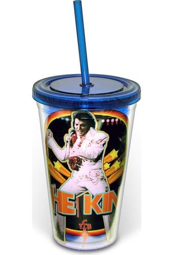 The King - 16 oz. Plastic Cold Cup with Lid &