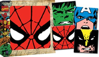 "Marvel Comics - Big Faces 4 Piece 4""x4"" Glass"