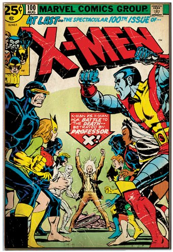 "X-Men - Vintage 13"" x 19"" Printed Wood Wall Sign"