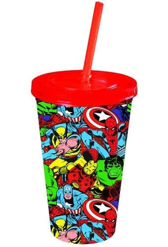 Group Shot: 16 oz. Plastic Cold Cup w/Lid & Straw
