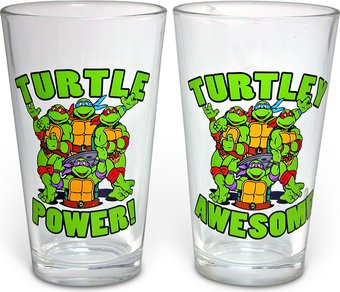 Power/Awesome: 2-Piece 16 oz. Clear Pint Glass Set