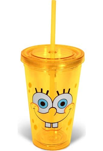 Sponge Bob - Smile: 16 oz. Plastic Cup with Lid &
