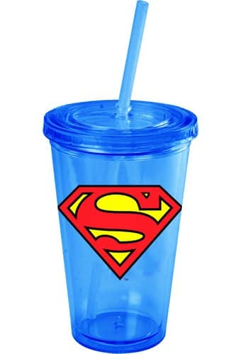 Superman - Logo - 16 oz. Plastic Cup with Lid &
