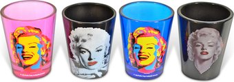 Faces of Marilyn: 4-Piece Shot Glass Sets Colored
