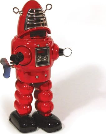 Planet Wind-Up Robot Tin Toy - Red